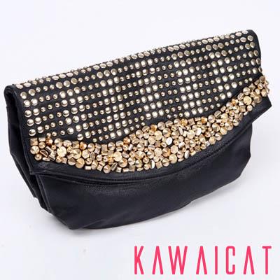 ハンドバッグ通販〜KawaiCatブランドの【50%OFF】【ba8994】ゴールドスタッズとビーズ配色で華やかな印象に♪ショルダーストラップ付きのエレガントなミニバッグ