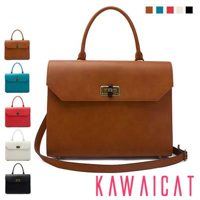 ハンドバッグ通販〜KawaiCatブランドの【50%OFF】【ba9050】すっきりとしたシンプルなデザインなのでスーツスタイルと相性ピッタリ♪ショルダーストラップ付きのシンプルなハンドバッグ