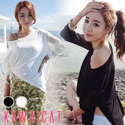 シャツ通販〜KawaiCatブランドの【50%OFF】【ts9255】シンプルながらもユニークなデザインで着まわしの効く一枚☆袖シフォン配色サイド開きポイントTシャツ