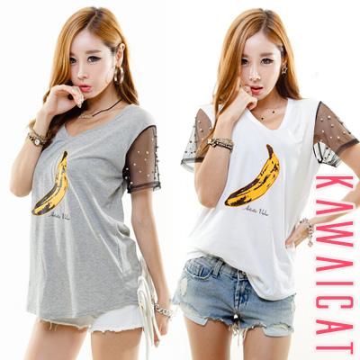 シャツ通販〜KawaiCatブランドの【C-style】【50%OFF】【ts9343】オシャレポイントを与えたバナナプリント袖メッシュ配色ビーズ装飾Tシャツ