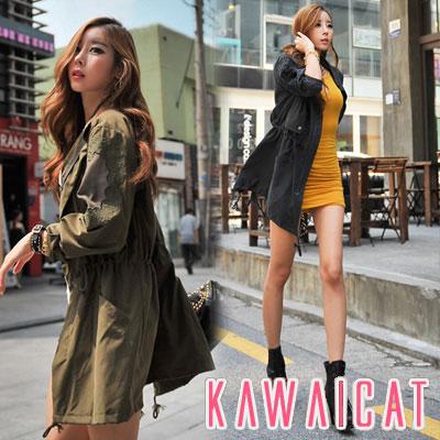 アウター通販〜KawaiCatブランドの【50%OFF】【jk9493】オーバーサイズでトレンド感Up!フェミニンな刺繍がポイントとなったオーバーサイズミリタリージャケット