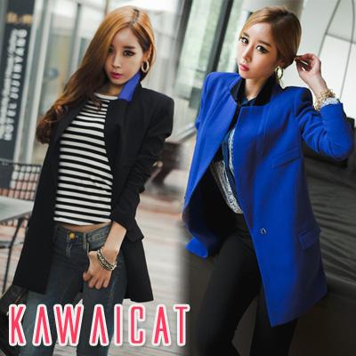 アウター通販〜KawaiCatブランドの【C-style】【50%OFF】【jk9734】秋冬新作♪カラーの内側にこっそり入った配色がポイント♪ベーシックなデザインでクラシカルな印象のカラー配色テーラードジャケット