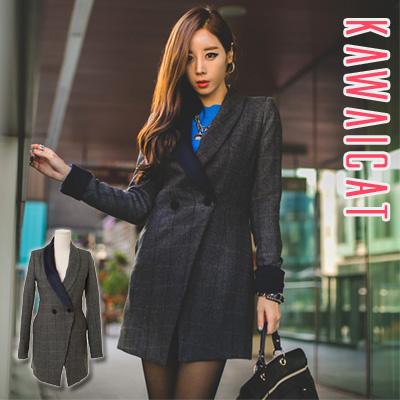 アウター通販〜KawaiCatブランドの【C-style】【50%OFF】【jk9924】 薄いチェックが上品な印象を与えるスタイリッシュな片側カラー配色チェック柄コート
