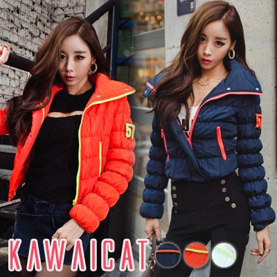 アウター通販〜KawaiCatブランドの【C-style】【50%OFF】【jk9978】ボリューム感のあるデザインが可愛く仕上げてくれるジップ配色ショート丈パディングジャケット