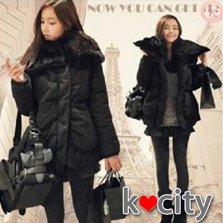 アウター通販〜K-cityブランドのあったか冬アウター♪襟にファー付き★ミドル丈コート 大きいサイズあり!M〜XL