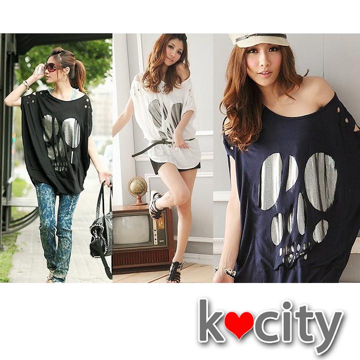 シャツ通販〜K-cityブランドのお洒落なデザインTシャツ♪半袖ドルマンカジュアル穴あきチュニックトップス
