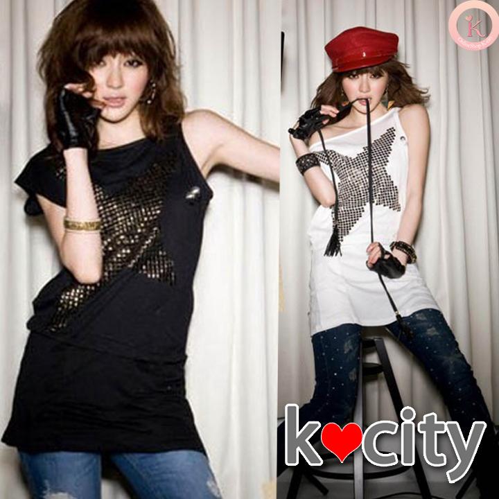 シャツ通販〜K-cityブランドのスタッズで星柄☆ノースリーブアシメチュニックトップス