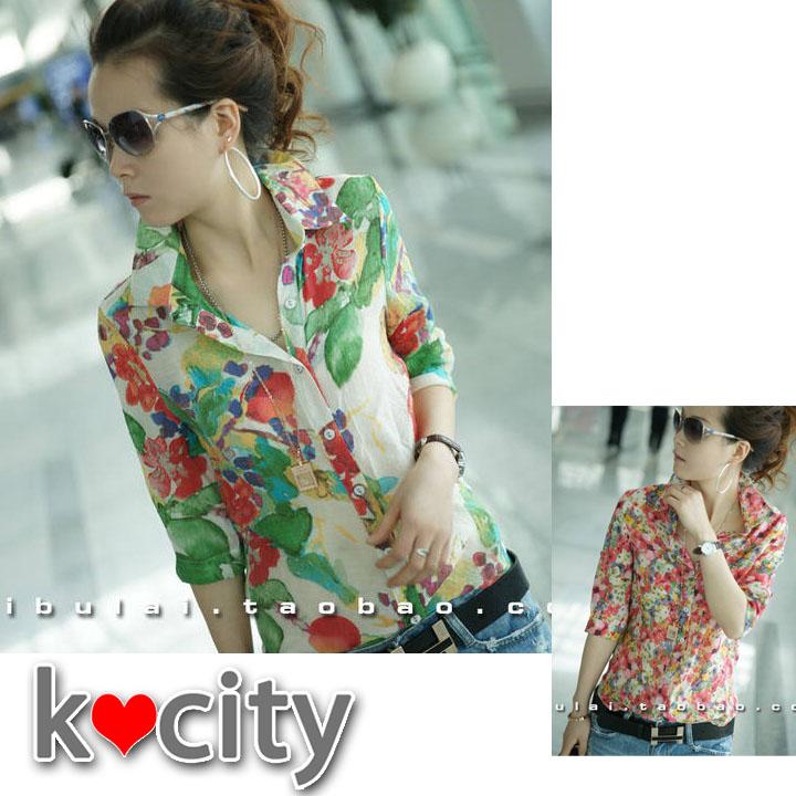 シャツ通販〜K-cityブランドのヴィンテージ花柄プリント七分袖シャツ♪ブラウストップス