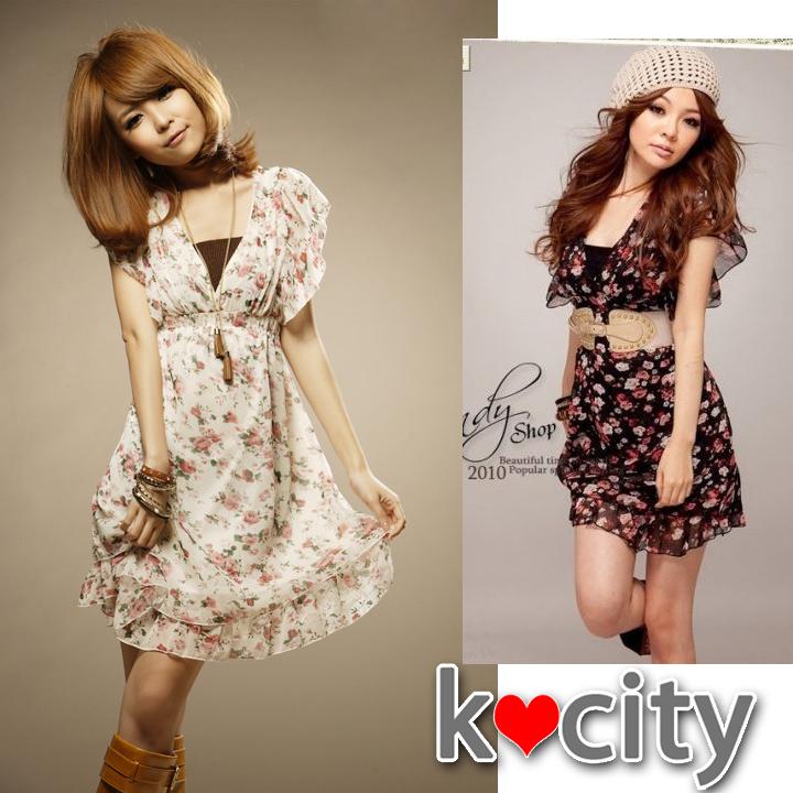 ワンピース通販〜K-cityブランドのVネック超可愛いワンピース♪半袖ハイウエストフリル花柄ワンピ