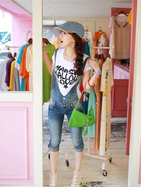 ワンピース通販〜Lady Girlsブランドのオーバーオールタイプのデニムパンツ