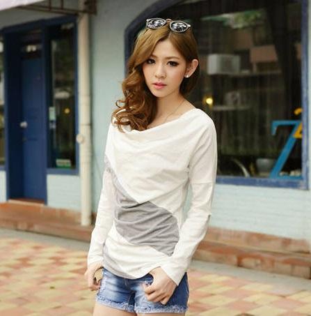長袖Tシャツ オフタートルロング丈Tシャツ ゆるシルエット Tシャツ 切替 大きいサイズ 全5色