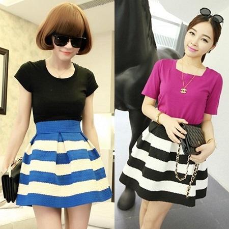 【2014年春夏物】【韓国 ファッション】ボーダー柄チュチュスカート ミニスカート パフスカート ショートスカート ブルー ブラック♪