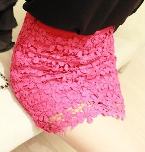春物★総レースミニスカート ショートスカート♪ ブラック ホワイト ディープピンク
