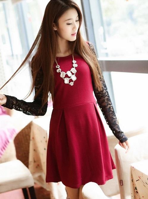 【2014年春夏物】【韓国 ファッション】韓国スタイル★切り替えワンピース♪ブルー レッドブ ラック
