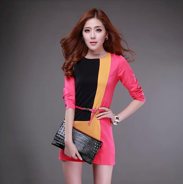 【韓国ファッション】カラー切り替えOL風細身ワンピース