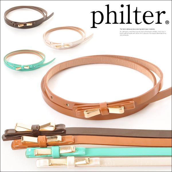 philter(フィルター)【新作】★リボンモチーフナローベルト(ベルト/細ベルト/リボン/レディース)【入荷済】