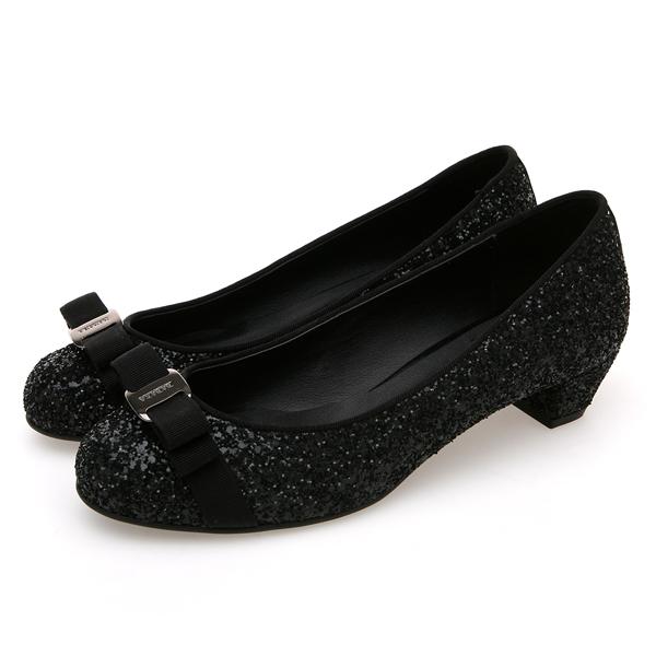 靴通販〜BABARA JAPANブランドの[BABARA] JUANA BK (B3513) フラットシューズ/ぺたんこ/ローヒール/パンプス/グリッター/ブラック