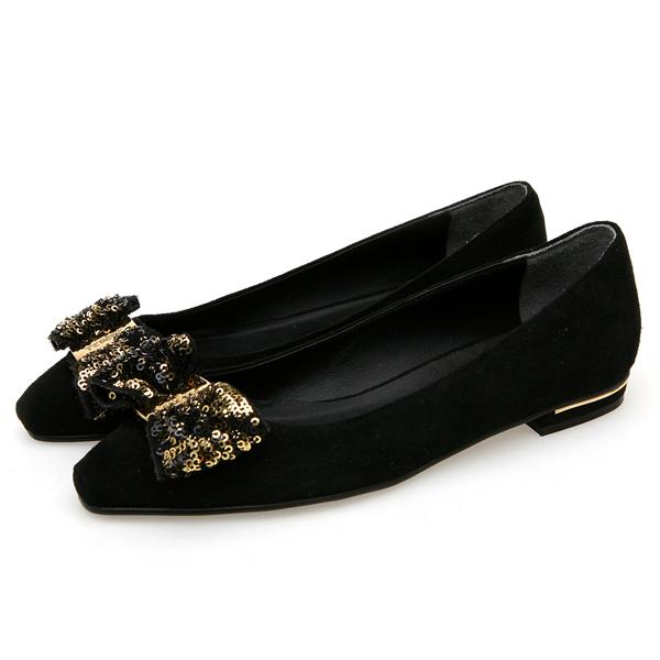 靴通販〜BABARA JAPANブランドの[BABARA]PAIGE BK (B3518) フラットシューズ/ぺたんこ/リボン/ブラック