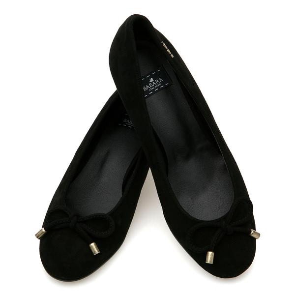 靴通販〜BABARA JAPANブランドの[BABARA]JESUS BK (B3534) フラットシューズ/ぺたんこ/リボン/ブラック