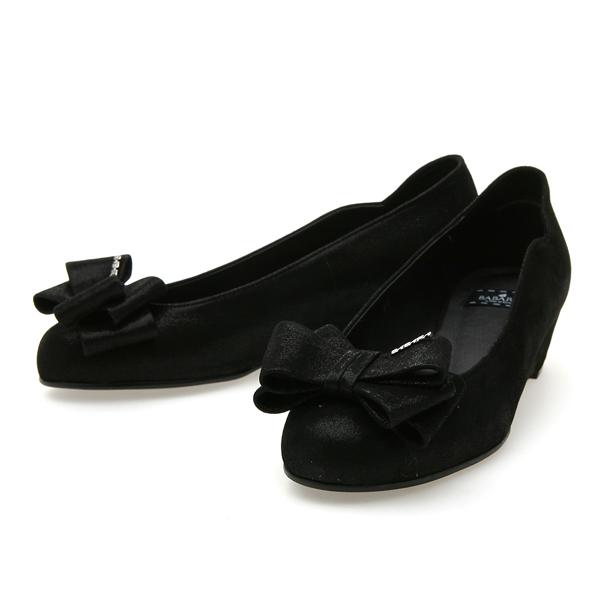 靴通販〜BABARA JAPANブランドの[BABARA] JESUS_C BK (B3537) フラットシューズ/ぺたんこ/ローヒール/インヒール/リボン/ブラック