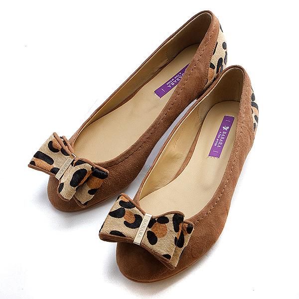 靴通販〜BABARA JAPANブランドの[BABARA] CALF I BR(B2501) フラットシューズ/ぺたんこ/リボン/レオパード/ブラウン