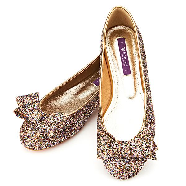 靴通販〜BABARA JAPANブランドの[BABARA]Sarah GD (B1512) フラットシューズ/ぺたんこ/リボン/グリッター/ゴールド
