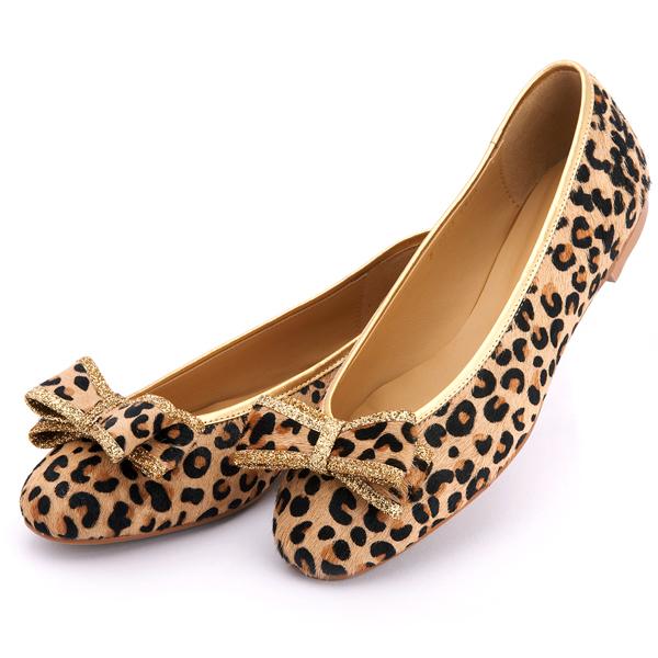 靴通販〜BABARA JAPANブランドの[BABARA] CALF ll GD (B2508) フラットシューズ/ぺたんこ/リボン/レオパード/アニマル/ゴールド