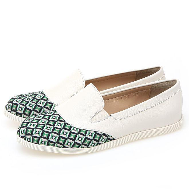 靴通販〜BABARA JAPANブランドの[BABARA] BB4155 GR/フラットシューズ/ペタンコ/スリッポン/ホワイト