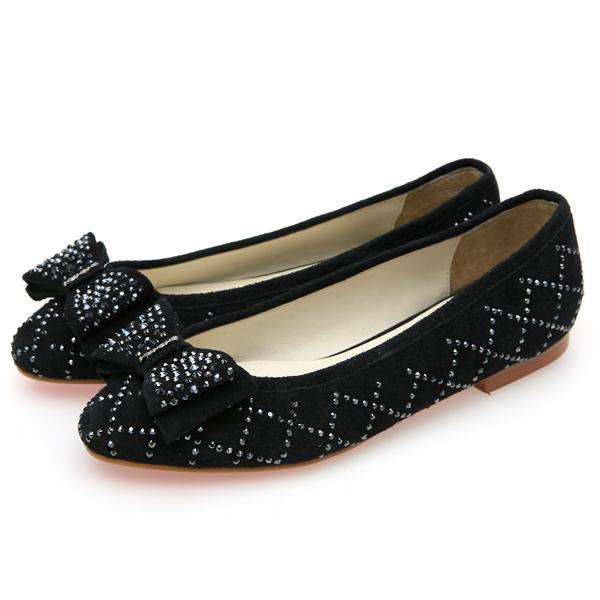 靴通販〜BABARA JAPANブランドの[BABARA] LAURA NY (B3515) フラットシューズ/ぺたんこ/リボン/ブラック