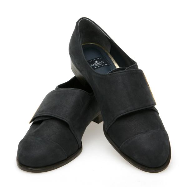 靴通販〜BABARA JAPANブランドの[BABARA] URBANELY NY (B3526) フラットシューズ/ぺたんこ/シンプル/ブラック