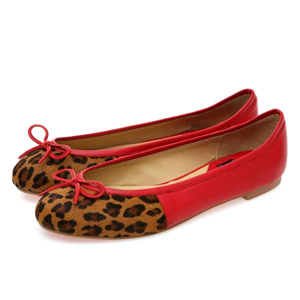靴通販〜BABARA JAPANブランドの[BABARA] GENIAL RE (B3501) フラットシューズ/ぺたんこ/リボン/レオパード/アニマル/レッド