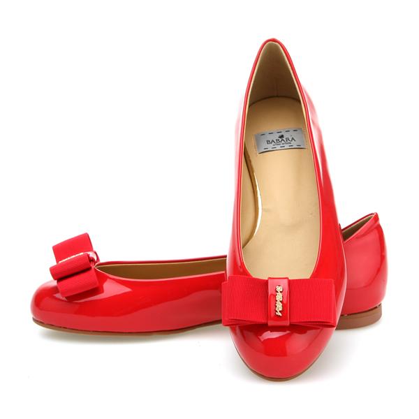 靴通販〜BABARA JAPANブランドの[BABARA] LORA RE (O3520) フラットシューズ/ぺたんこ/リボン/レッド