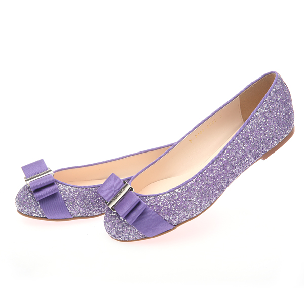 靴通販〜BABARA JAPANブランドの[BABARA] GLITTERING VI(B3101) フラットシューズ/ぺたんこ/リボン/グリッター/バイオレット