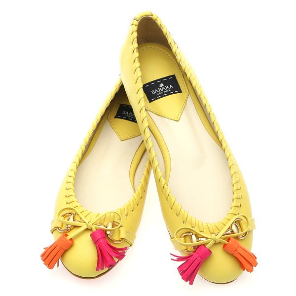 靴通販〜BABARA JAPANブランドの[BABARA]TASTY YE (B3114) フラットシューズ/ぺたんこ/タッセル/パステルカラー/イエロー