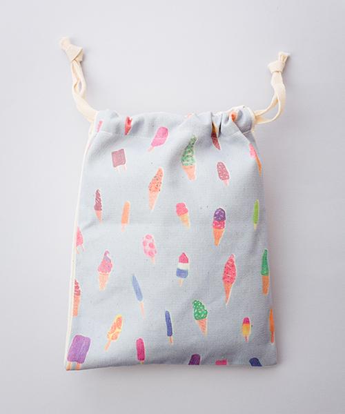 【刺繍】キャンバス地のプリント巾着袋【アイスクリーム】【ブランド: