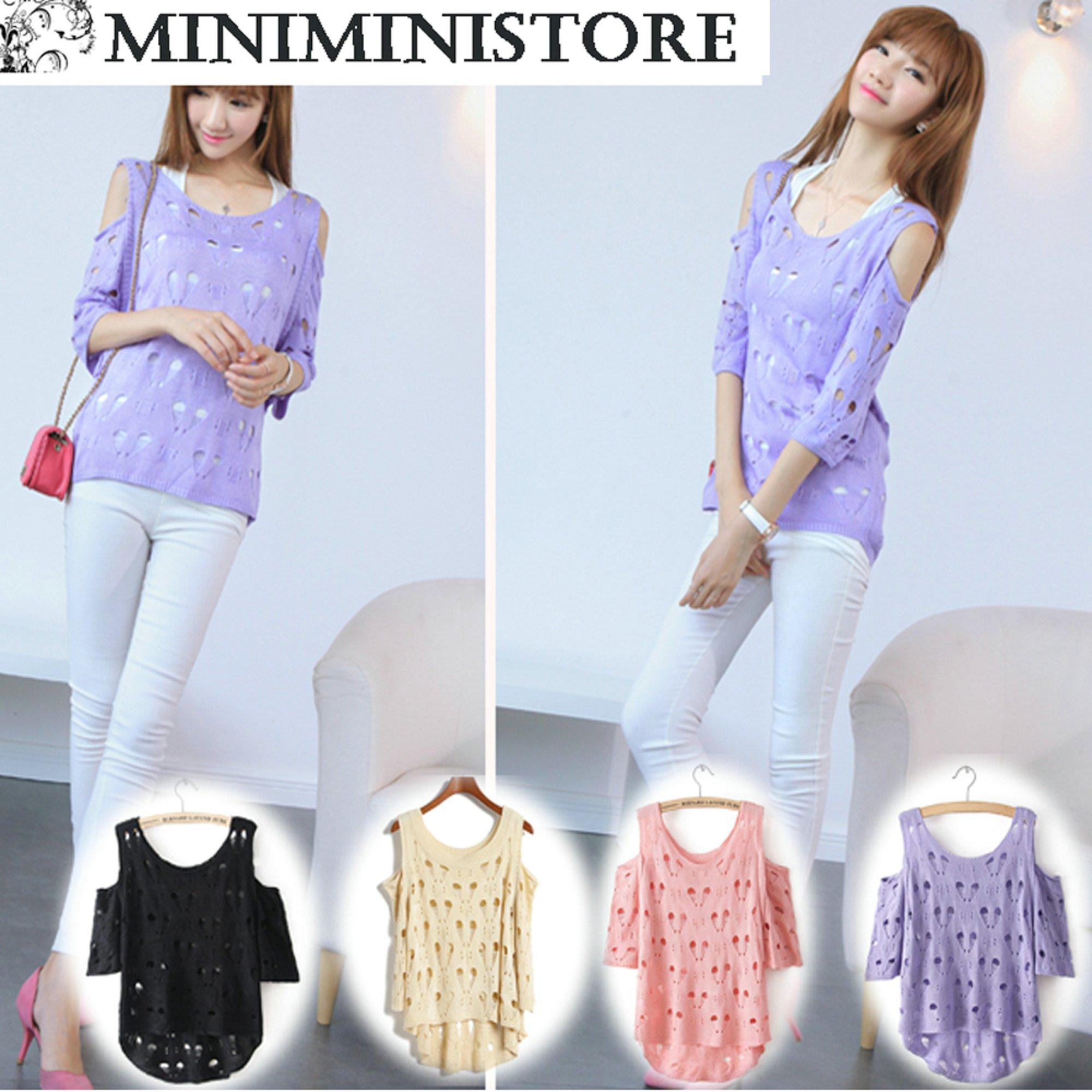 シャツ通販〜Miniministoreブランドのセーターニット編みハート柄チュニック 全4色