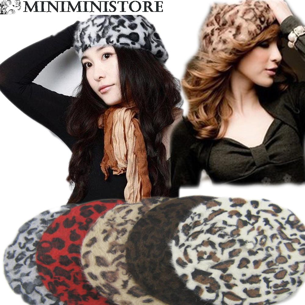 帽子レディースヒョウ柄 ベレー帽フェルトベレー帽/豹柄ベレー帽全5色