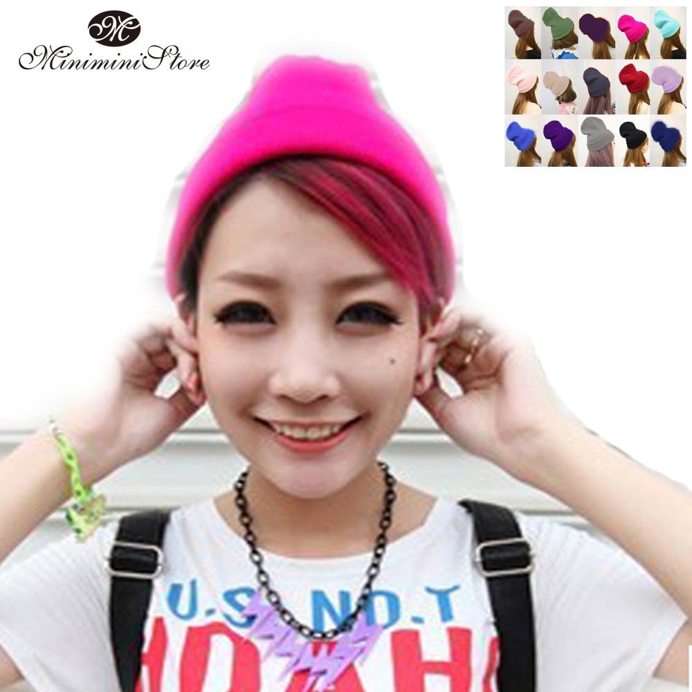 無地ニットキャップ男女兼用ニット帽レディース/カラーニットキャップ14color