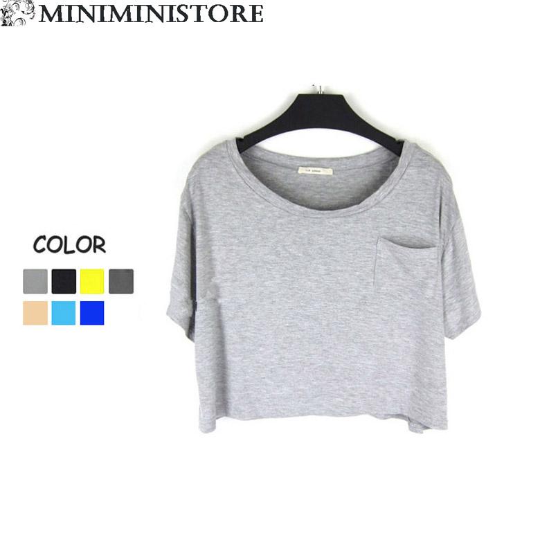 シャツ通販〜Miniministoreブランドのショート丈カットソー無地Tシャツ トップス全7色