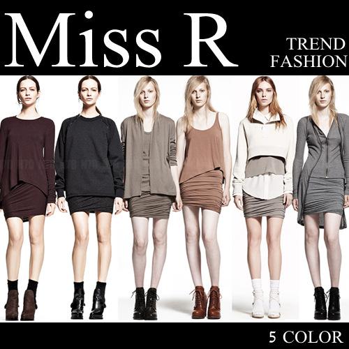 スカート通販〜Miss Rブランドのウェストゴム アンバランスギャザーシャーリング美ラインデザインミニスカート(5色)