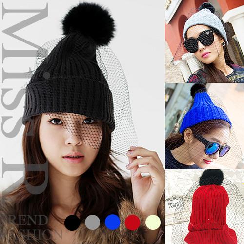 【新作】【予約】2WAYラビットファーポンポン&女らしいメッシュ付きリブ編みニットキャップ帽子/ポンポン&メッシュ取り外し可能(5色)(春夏)