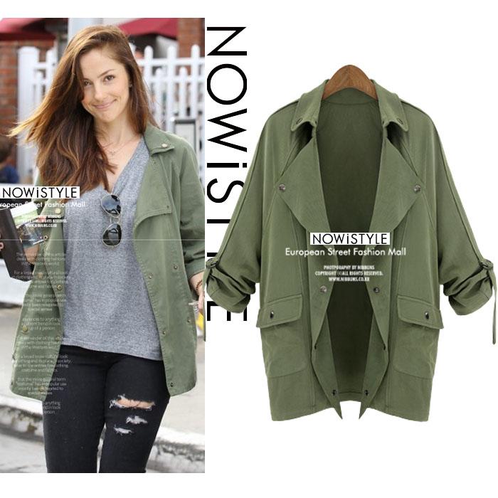 袖ロールアップオープンサファリジャケット/コート/春/セレブファッション/ジャケット