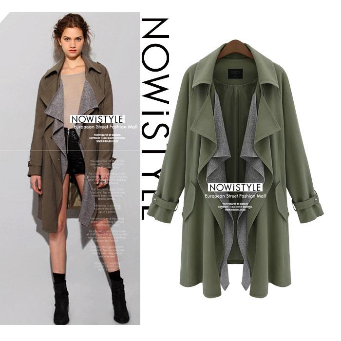 配色レイヤードカラー2WAYコート/春/セレブファッション/ジャケット