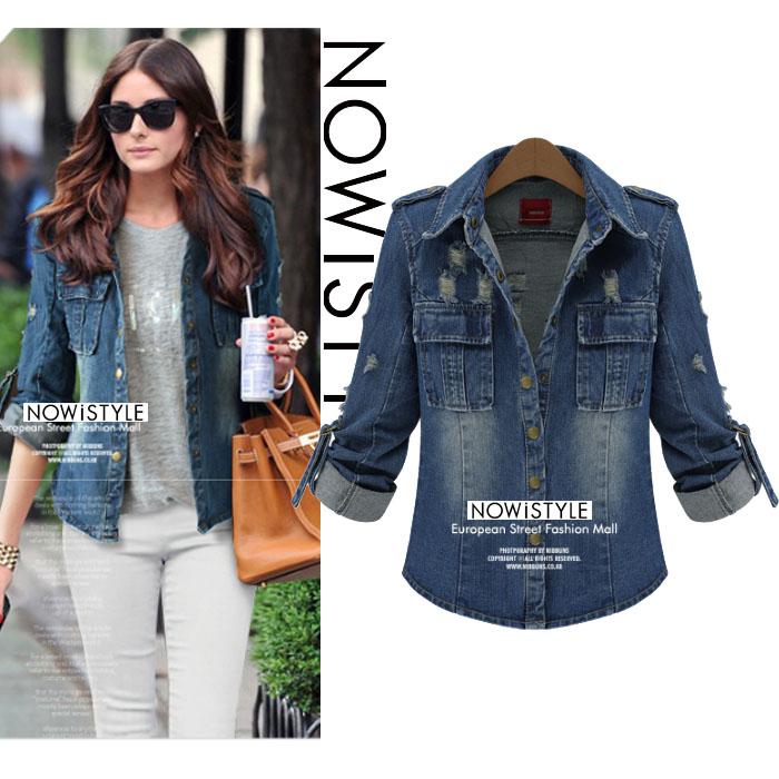 ヴィンテージウォッシュデニムダンガリーシャツジャケット/コート/春/セレブファッション/韓国ファッション