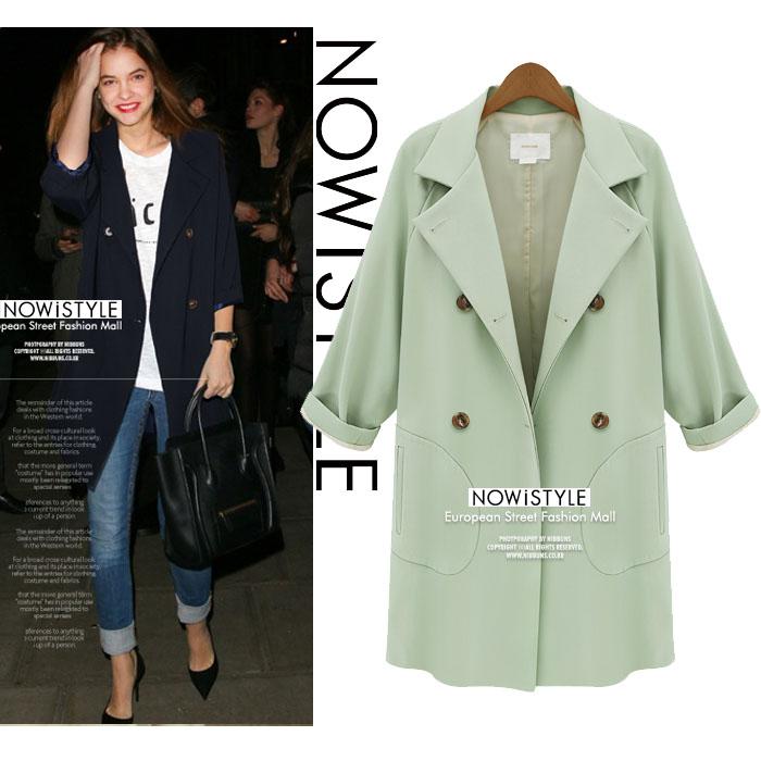 ダブルボタンテーラードジャケットコート/パステル/春/セレブファッション