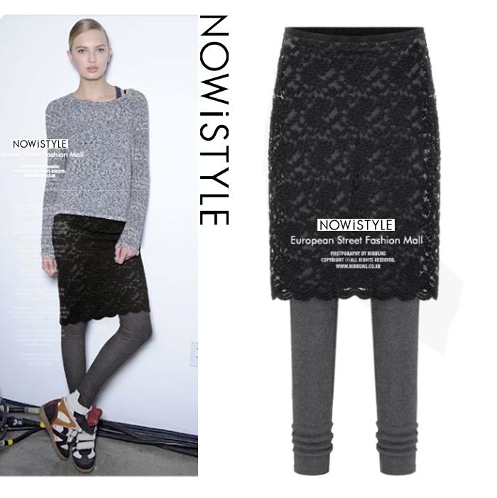 レギンス付きレースタイトスカート/秋冬/セレブファッション/タイト/韓国ファッション