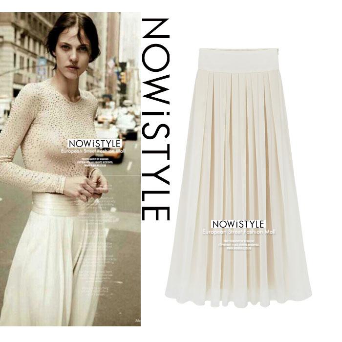 フェミニンプリーツシフォンロングスカート/春/セレブファッション/韓国ファッション