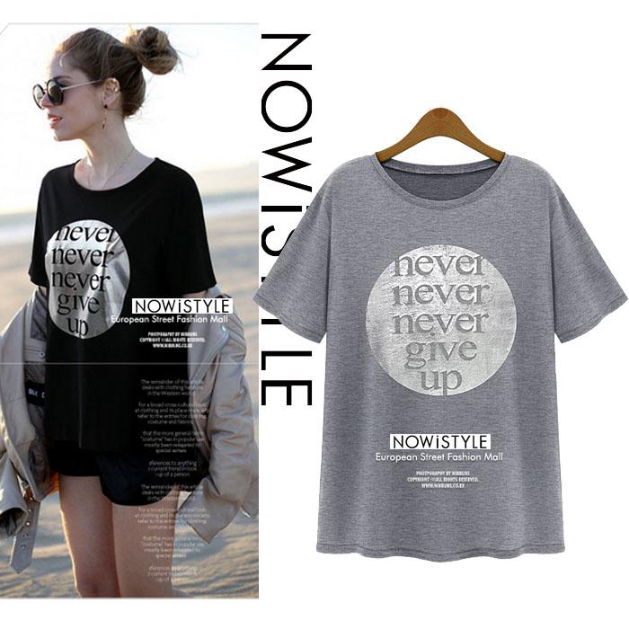 メタリックラウンドプリントベーシックTシャツ/春/セレブファッション/韓国ファッション