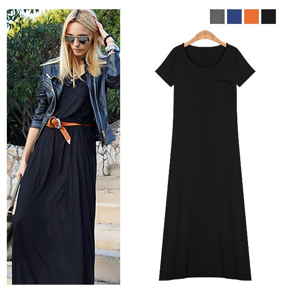 ワンピース通販〜nowistyleブランドのTシャツデザインシンプルマキシワンピース/大きいサイズ/春夏/セレブファッション