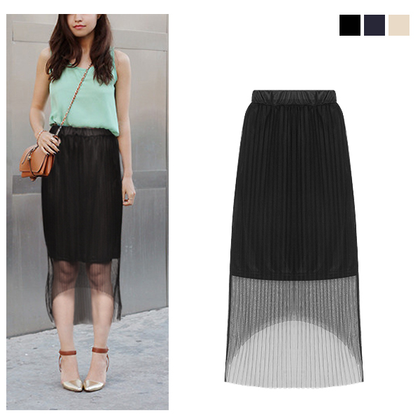 シースルーチュールプリーツスカート/春夏/セレブファッション
